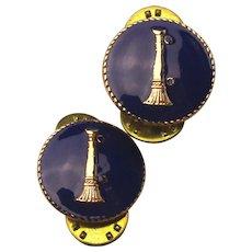 Pair of Vintage Enamel Fire Fighting Collar Pins