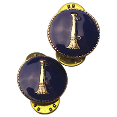 Pair of Vintage Enamel Fire Fighting Collar Pins