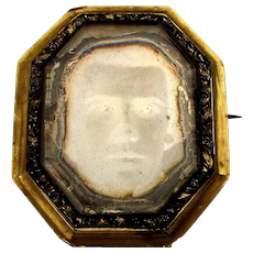 Antique c1850 Daguerreotype Photo Pin Brooch - Handsome Young Man