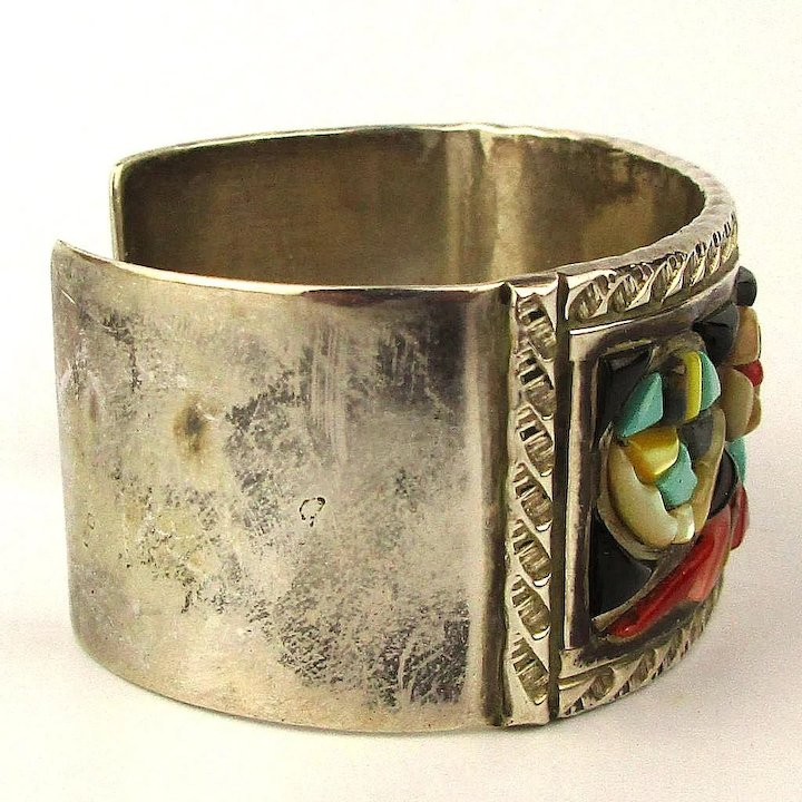 7f04dc28682 VMB - Navajo Stone Inlay Sterling Silver Cuff Bracelet - Victor Moses Begay
