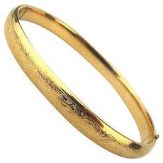 Old Krementz Gold-Filled Etched Slider Bangle Bracelet