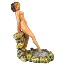 Signed Nude Woman Ceramic Figurine Statue - Hand Painted Italy