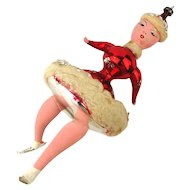 Vintage Blown Glass Christmas Tree Ornament - Stylized Ice Skater