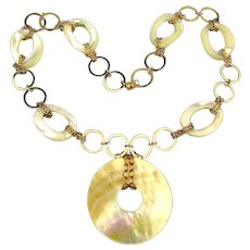 Estate Gold-Filled Mother-of-Pearl Necklace