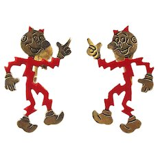 Vintage REDDY KILOWATT Figural Earrings Electricity Adv. Symbol