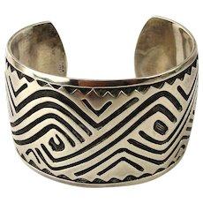 Mexican Sterling Silver Heavy Cuff Bracelet Mid-Century Wide