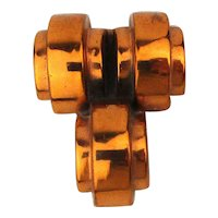 Signed Modernist RENOIR Pin Brooch Copper Deco Domes
