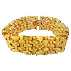 Italy Gold on Sterling Silver Woven Bracelet - Designer