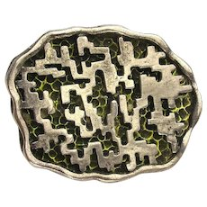 CORO Mid-Century Brutalist Pin Brooch Abstract Silvered Shadowbox