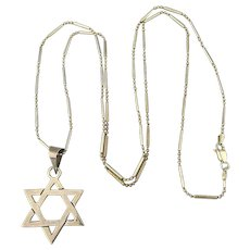 Taxco Sterling Silver Star of David Jewish Star Pendant Necklace