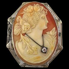 Estate 14K Gold Carved Shell Cameo Girl Habille Pin Pendant