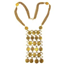 c1960 Great Cascading Necklace of Faux Gold French Coins