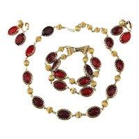 Coro Pegasus 3 Pc. Parure Necklace Bracelet Earrings Red Glass