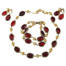 Coro Pegasus 3 Pc. Parure Necklace Bracelet Earrings Red Glass