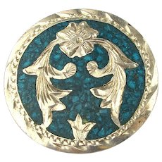 Old Mexican Sterling Silver Pin Pendant - Etched w/ Turquoise Chip Inlay