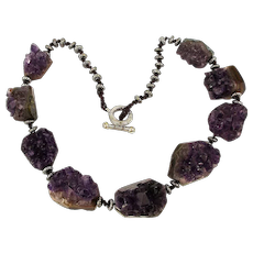 Heavy Vintage Necklace Made of Amethyst Geode Rocks