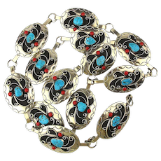 Southwestern Conch Style Belt - Genuine Turquoise w/ Red Coral
