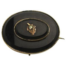 Old Victorian Black Jet Gold-Filled Mourning Pin Brooch Pendant
