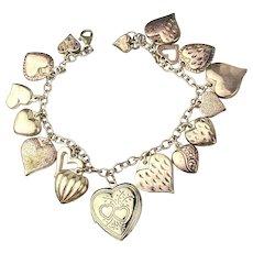 Vintage Puffy Hearts Sterling Silver Charm Bracelet w/ Locket