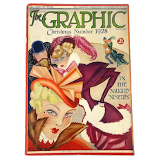 1928 THE GRAPHIC MAGAZINE - Christmas Number - Art Deco - Color Graphics