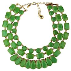 Kate Spade Triple Strand Green Stone Necklace