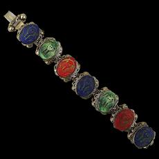 Art Deco Egyptian Revival Czech Glass Bracelet King Tut Cameos Neiger Bros.