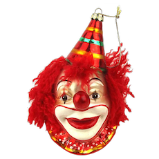Big Vintage Handpainted Glass Happy Clown Christmas Ornament