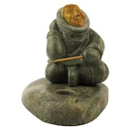 Alaskan Inuit Eskimo Carved Stone Figurine Fisherman Signed