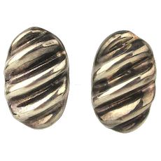 Vintage Taxco Mexican Sterling Silver Clip Earrings
