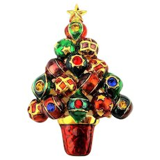 Christopher Radko Enamel Christmas Tree Pin w/ Rhinestone Balls