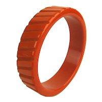 Genuine Old Bakelite Bangle Bracelet - Sliced Orange