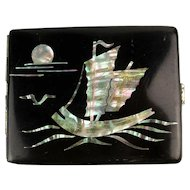 Vintage Inlaid MOP Enamel Cigarette Card Case Japanese Scenes