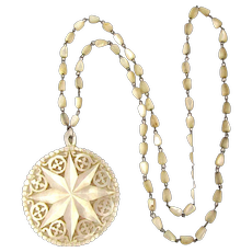 Victorian Mother-of-Pearl Carved Star Necklace Reticulated in Orig. Box