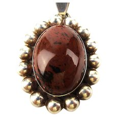 Mexican Sterling Silver Jasper Stone Pendant Necklace