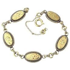 Vintage Gold-Filled Etched Oval Links Bracelet