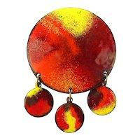 Midcentury Enamel on Copper Pin Brooch - The Sun w/ 3 Baby Suns