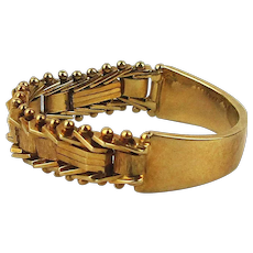Unique Vintage 14K Gold Ring - Half Band Half Link Chain - All Gold