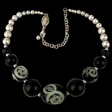 Vintage Babylone Paris Carved Bead Necklace