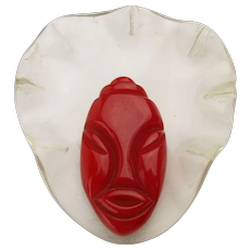 1940s ELZAC Carved Red Bakelite Lucite Bonnet Head Ethnic Woman Pin Brooch