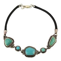 Barse Sterling Silver Turquoise Leather Bracelet