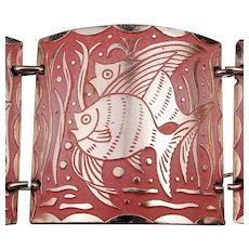 Vintage W. Germany Etched Aluminum Bracelet Fancy Fish Links