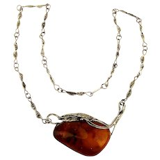 Big Baltic Amber Stone Pendant in Handmade Sterling Silver Necklace