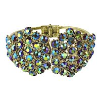 Vintage Aurora Borealis Crystal Rhinestone Clamper Bracelet