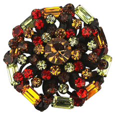 Vintage 1950s Rhinestone Crystal Pin in Autumn Foliage Colors
