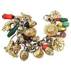 Rare 1950s NAPIER Loaded Charm Bracelet 23 Big Charms Signed Original