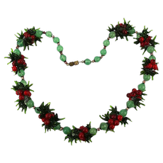 c1930s Venetian Glass Christmasy Red n Green Necklace Fruit Salad Berries
