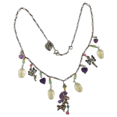 1970s Lucy Isaacs Sterling Silver Gems FAIRY Necklace Fairies