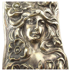 Art Nouveau Sterling Silver Clothes Brush w/ Gibson Style Embossed Lady