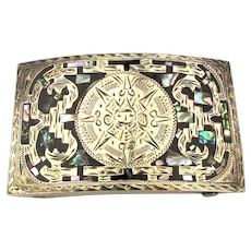 Mexican Aztec Calendar Sterling Silver Belt Buckle w/ Stone Inlay