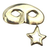 Mexican Sterling Silver Eye Mask Pin w/ Star